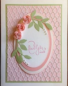Rolled Roses Birthday - very cute but I think I would have the largest oval sponged a bit more or use DSP & maybe add a little light texture to the top oval!  Gorgeous card  :-)