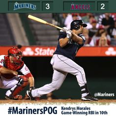 Morales' go-ahead single in 10th lifts #Mariners to 3-2 win over #Angels 6/18/13