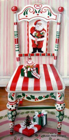 santa painted chair | My painting: Santa's Chair | Talented Artists/Beautiful Paintings!