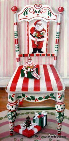 Adorei esta cadeira com motivos natalícios.