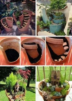 Garden Design Jardines Fairy Garden in one of the fun ways of decorating gardens by using broken pots, wood pieces, planters soil and other wrecked items. It creates a miniature fantasy garden with the help of unusable items. Broken Pot Garden, Fairy Garden Pots, Fairy Garden Houses, Garden Planters, Succulents Garden, Backyard Plants, Garden Terrarium, Potted Garden, Terrarium Ideas