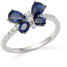 Sapphire and Diamond Butterfly Ring in 14K White Gold ($2,060) ❤ liked on Polyvore featuring jewelry, rings, white gold jewellery, white gold jewelry, 14k ring, diamond rings and butterfly rings