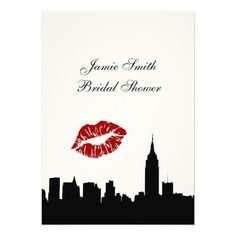 NYC Skyline Silhouette, Kiss ESB #1V Bridal Shower Custom Invites