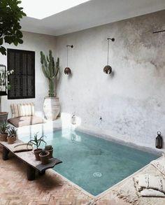 small inground pool 20 Patio Rustique, Rustic Patio, Small Backyard Pools, Small Pools, Dipping Pool, Patio Design, House Design, Mini Pool, Plunge Pool
