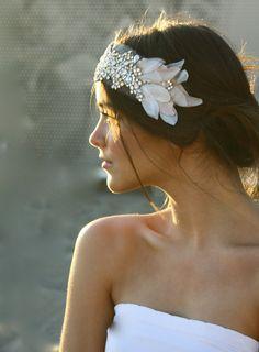 Bridal Bandeau - Mini Crystal and Vintage Petal on Veiling