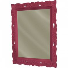Floral Carved Mirror-Red