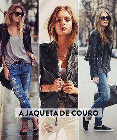 Os básicos do estilo francês A jaqueta de couro Nessa hora ela mostrou uma Balenciaga, hahaha, quase caí pra trás! Pra combinar com vestidos, jeans… Tudo combina com jaqueta de couro, né?
