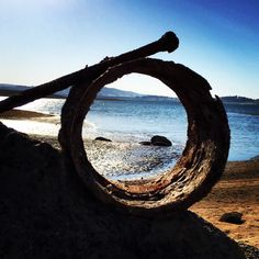 Pipe coupling and bolt spyglass at Folsom Lake.
