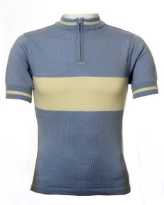 Pale Blue & Ecru merino wool retro cycling jersey from Jura Cycle Clothing Cycling Tops, Cycling Wear, Cycling Jerseys, Cycling Outfit, Merino Wool, Retro Fashion, Mens Tops, How To Wear, Bicycles