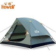Hewolf Waterproof Double Layer 2-3 Person Outdoor Camping Tent Hiking Beach Tent #Hewolf #Beach