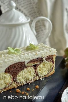 Cake with cheese - sky on the plate Polish Desserts, Polish Recipes, Baking Recipes, Cake Recipes, Poland Food, Easy Blueberry Muffins, First Communion Cakes, Sweets Cake, Pudding Cake
