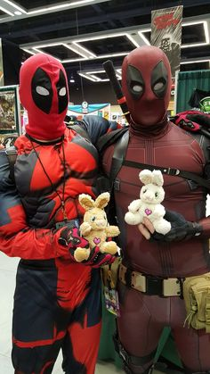 They were arguing over who was the real Deadpool. After they hugged. Emerald City, Deadpool, Hug, Bunny, Superhero, Fictional Characters, Cute Bunny, Rabbit, Fantasy Characters