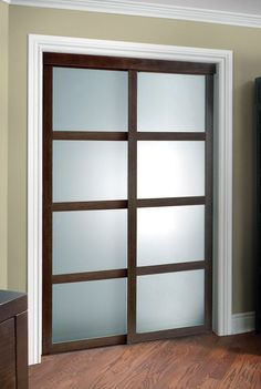 Colonial Elegance Fusion Plus Framed Frosted Glass Sliding Door at Menards®: Colonial Elegance® Fusion Plus x Cherry Framed Frosted Glass Sliding Door Glass Closet, Sliding Doors, Interior Trim, Sliding Closet Doors, Interior, Bathrooms Remodel, Sliding Glass Door, Home Decor, Frosted Glass Closet Doors
