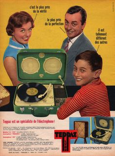 Stereos from outer space: The golden age of kitschy record player design Dangerous Minds, Radios, Vintage Advertisements, Vintage Ads, Retro Ads, Vintage Posters, Creepy Kids, Vinyl Music, Dj Music