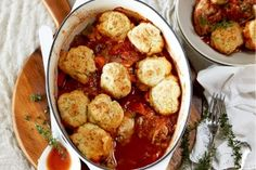 Golden, cheesy dumplings crown this delicious chicken casserole. Chicken Casserole, Casserole Dishes, Casserole Recipes, Chicken Soup, Real Food Recipes, Chicken Recipes, Cooking Recipes, What's Cooking, Yummy Food