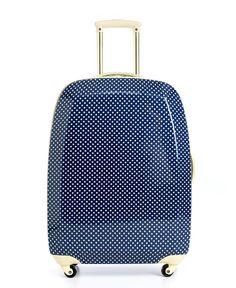 navy polka dot hardside suitcase