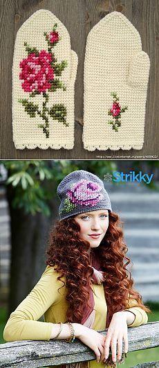 Варежки, связанные тунисским вязанием и шапочка с розой — Рукоделие