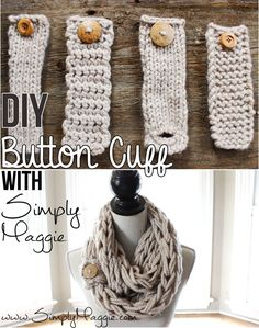 Diy buttons, scarf with buttons, arm knit scarf, finger knitting scarf, how Knitting Projects, Crochet Projects, Knitting Patterns, Sewing Patterns, Crochet Patterns, Scarf Patterns, Free Knitting, Flower Patterns, Stitch Patterns