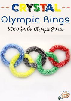 Show your Olympic Games spirit by making crystal Olympic rings! A STEM activity … Show your Olympic Games spirit by making crystal Olympic rings! A STEM activity for kids that will get them excited for the Olympic Games this year. Summer Preschool Activities, Educational Activities For Kids, Indoor Activities For Kids, Stem Activities, Olympic Games For Kids, Building Games For Kids, Winter Olympic Games, Olympic Idea, Summer Camp Themes