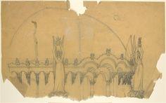 Temple à la Pensée, dédié à Beethoven de François Garas, couronnement avec femmes ailées portant une lyre, entre 1897 et 1914, dessin au crayon sur papier calque, 31 x 53,2 cm, Musée d'Orsay à Paris.