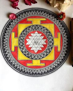 """Richa S on Instagram: """"Sri Yantra represents visually the replication of the """"genetic code"""" of the first triangle in the process of creation of the multiform…"""" Zen Doodle, Doodle Art, Mandala Art Therapy, Tibetan Mantra, Sri Yantra, Mandala Painting, Mandala Tattoo, Zentangle, Photo Art"""