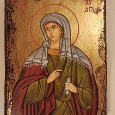 Saint Lydia Αγία Λυδία hand painted Greek Orthodox icon. | Etsy Byzantine Art, Byzantine Icons, Hand Carved, Hand Painted, Orthodox Icons, Saints, Greek, Carving, Canvas