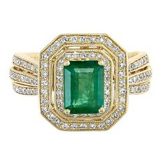 EFFY® Emerald & 3/8 ct. tw. Diamond Halo Ring in 14K Yellow Gold