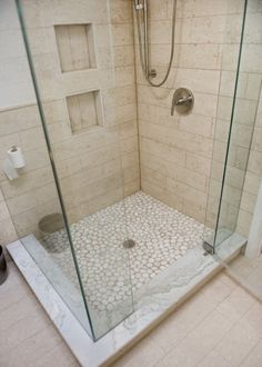 Wood plank tile with pebble floor. Bathroom Floor Tiles, Laundry In Bathroom, Modern Bathroom, Neutral Bathroom, Concrete Bathroom, White Bathrooms, Shower Bathroom, Luxury Bathrooms, Master Bathrooms