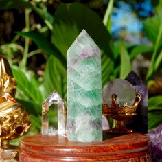 Large Green Fluorite Crystal Point