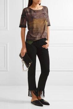 Raquel Allegra - Distressed Tie-dyed Stretch Cotton-blend T-shirt - Brown - 0
