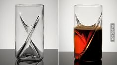 A beer glass from which you can drink two different beers at once...