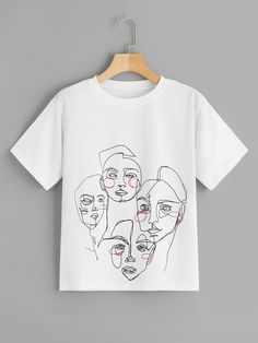 To find out about the Abstract Figure Print Tee at SHEIN, part of our latest T-Shirts ready to shop online today! T Shirt World, Painted Clothes, Latest T Shirt, T Shirts For Women, Clothes For Women, Printed Tees, Direct To Garment Printer, Diy Clothes, Shirt Style