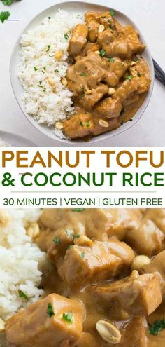 30 Minutes is all it takes to make the most delicious Peanut Tofu with Coconut Rice! Made with crispy baked tofu, peanut butter and more! About 30 Minutes is all it takes to make the most delicious Peanut Tofu with Coco Peanut Recipes, Tofu Recipes, Asian Recipes, Vegetarian Recipes, Chicken Recipes, Dinner Recipes, Healthy Recipes, Delicious Recipes, Healthy Food