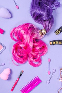 Creative content, colourful product photography & styling for fun brands by Marianne Taylor. Makeup Photography, Still Life Photography, Product Photography, Bubblegum Pop, Bombshell Beauty, Girly, Rainbow Brite, Purple Aesthetic, Salon Design