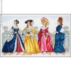 point de croix évolution des robes - cross stitch evolution of dresses