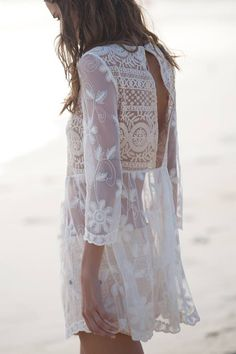 White lace boho chic modern hippie dress or beach swimsuit cover up. For the BEST Bohemian fashion trends for 2014 FOLLOW http://www.pinterest.com/happygolicky/the-best-boho-chic-fashion-bohemian-jewelry-gypsy-/