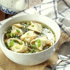 This vegan wonton soup is made with savory shiitake stuffed wontons, crispy napa cabbage and a light gingery broth.