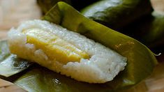 Steamed sticky rice cakes with banana recipe : SBS Food