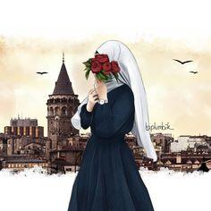 stanbul temal kapal k z izimi Anime Hijab Girl