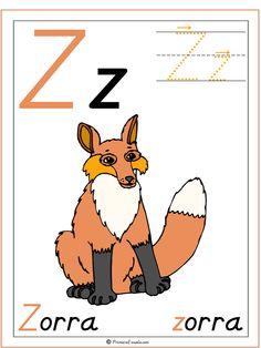 Nuevo Jul/10/12: Actividades y materiales imprimibles Letra Z Zorra para educación infantil y preescolar.