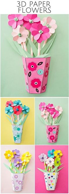 How to make 3D Paper Flower Bouquets with Video and Free Templates. Great gift… - #trending #searches #trend