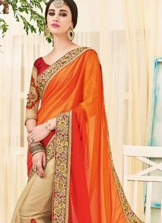 Fetching Beige and Orange Patch Border Work Georgette Designer Half N Half saree #indian #saree #trendy #red #bridal#bollewood #party wear #traditional#online #mangosurat#style #boutiques #shopping #fashion #modal #social #branding #sales #marketing #business #discount #deal #success #ethnic #creation #embroidery #classic #cloth #clothing #bridal wear#jardoshi #work #chiffon #acteress #navel #desi #new #woman fashion #designersuit #bridal