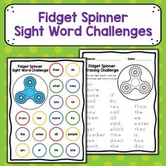 Turn fidget spinners into a motivating multisensory classroom tool with these Sight Word Challenges! Each challenge is designed to be completed in the time fidget spinner spins. Included in this resource is a Sight Word Identification Challenge, Traci Sight Word Games, Sight Word Activities, Sight Words, Learning Activities, Classroom Tools, 3rd Grade Classroom, Teacher Tools, Fidget Spinners, Fidget Spinner Games