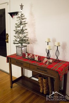 Make your home welcoming and festive with this simple Christmas entryway decor idea! #ad #AtHomeforChristmas #AtHomeFinds