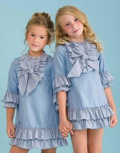 Vestidos azules lunares de Copo Cute Little Baby Girl, Cute Little Girl Dresses, Dresses Kids Girl, Pretty Dresses, Kids Outfits, Baby Girl Dress Patterns, Baby Dress, Little Girl Fashion, Kids Fashion