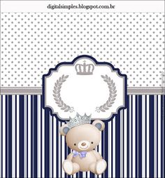 """Kit Aniversário """"Ursinho Príncipe Azul"""" para Imprimir - Convites Digitais Simples"""