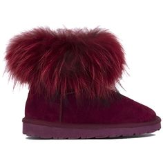 AKIRA Black Label Jazzy Genuine Suede Fur Trim Boots - Burgundy ($90) ❤ liked on Polyvore featuring shoes, boots, ankle boots, burgundy, low heel shoes, burgundy boots, short fur boots and short heel boots