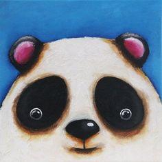 Original Acrylic Canvas Art Whimsical Child Decor Woodlands Panda Bear Painting  #Modernism