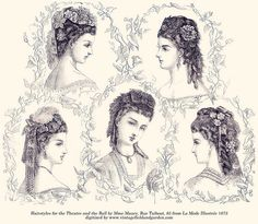 Hairstyles for the Theatre & the Ball (La Mode Illustrée January 5, 1873) by Vintage Field & Garden, via Flickr