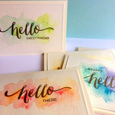 "You will find several options to create handmade ""hello"" cards using one stamp set (Wplus9 Hand Lettered Hello) and various watercolors."